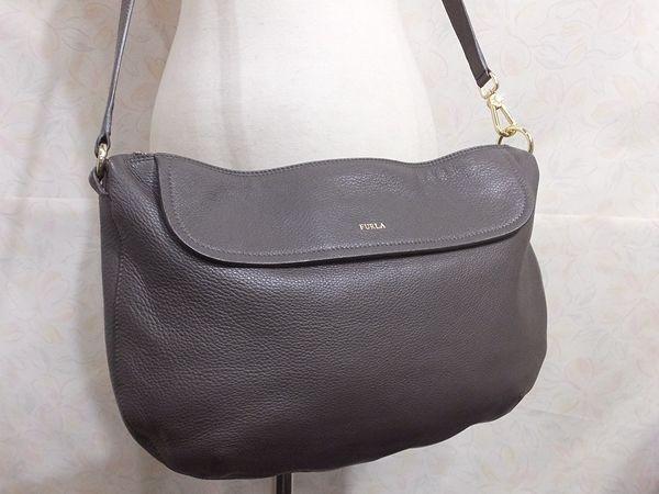 【美品/A】◆本物◆FURLA フルラ バッグ 2WAY ハンドバッグ 斜め掛け可 レザー グレー 保存袋 取説 ショップカード付き