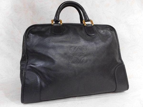 ◆本物◆LOEWE ロエベ バッグ アマソナ40 ブリーフケース ビジネスバッグ レザー アナグラム・ロゴ入り 黒