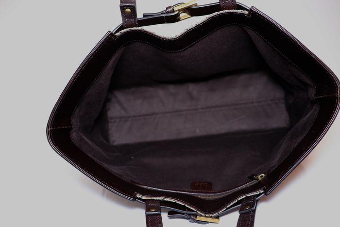 【極美品】グッチ Gucci GGキャンバスXレザー トートバッグ 定価約10万円 ハンドバッグ 通勤 通学_画像7