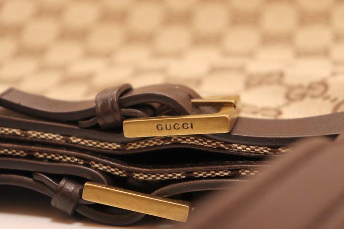 【極美品】グッチ Gucci GGキャンバスXレザー トートバッグ 定価約10万円 ハンドバッグ 通勤 通学_画像6