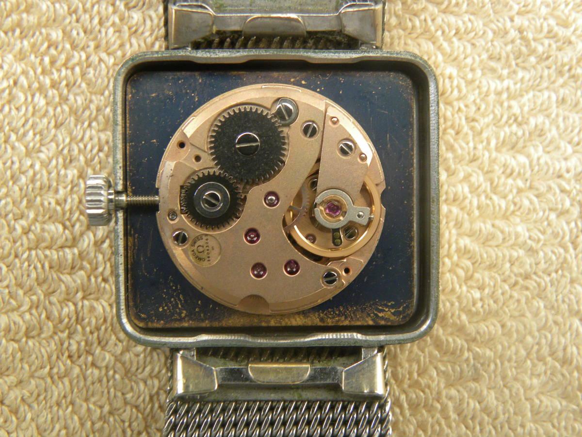 1000円スタ-ト アンティーク OMEGA オメガデビル  機械式手巻き スクウエアー レディースウォッチ_画像8