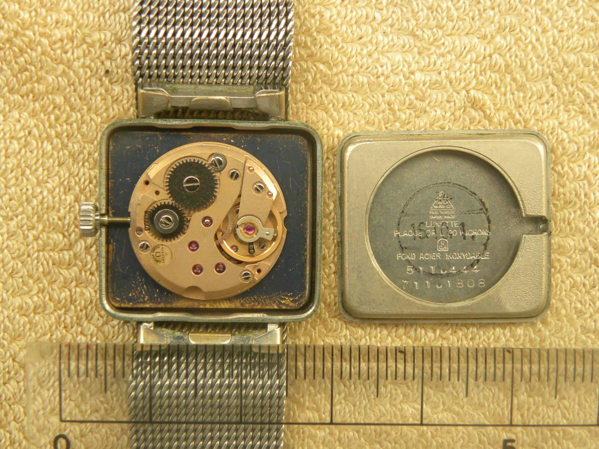 1000円スタ-ト アンティーク OMEGA オメガデビル  機械式手巻き スクウエアー レディースウォッチ_画像7