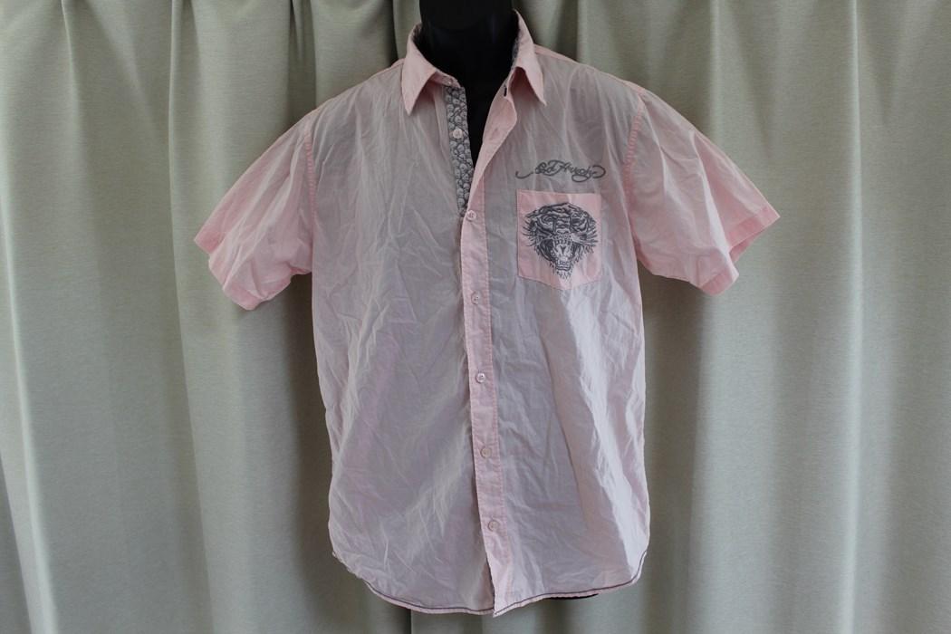 エドハーディー ED HARDY メンズ半袖シャツ ピンク Sサイズ 新品 EMB10094SP_画像1