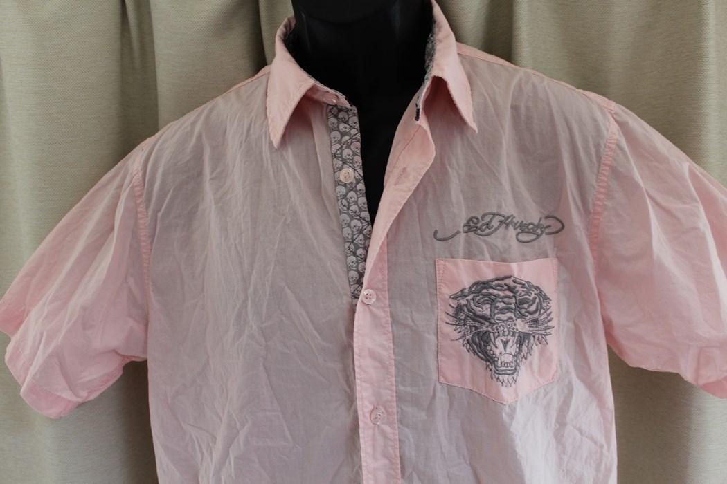 エドハーディー ED HARDY メンズ半袖シャツ ピンク Sサイズ 新品 EMB10094SP_画像2