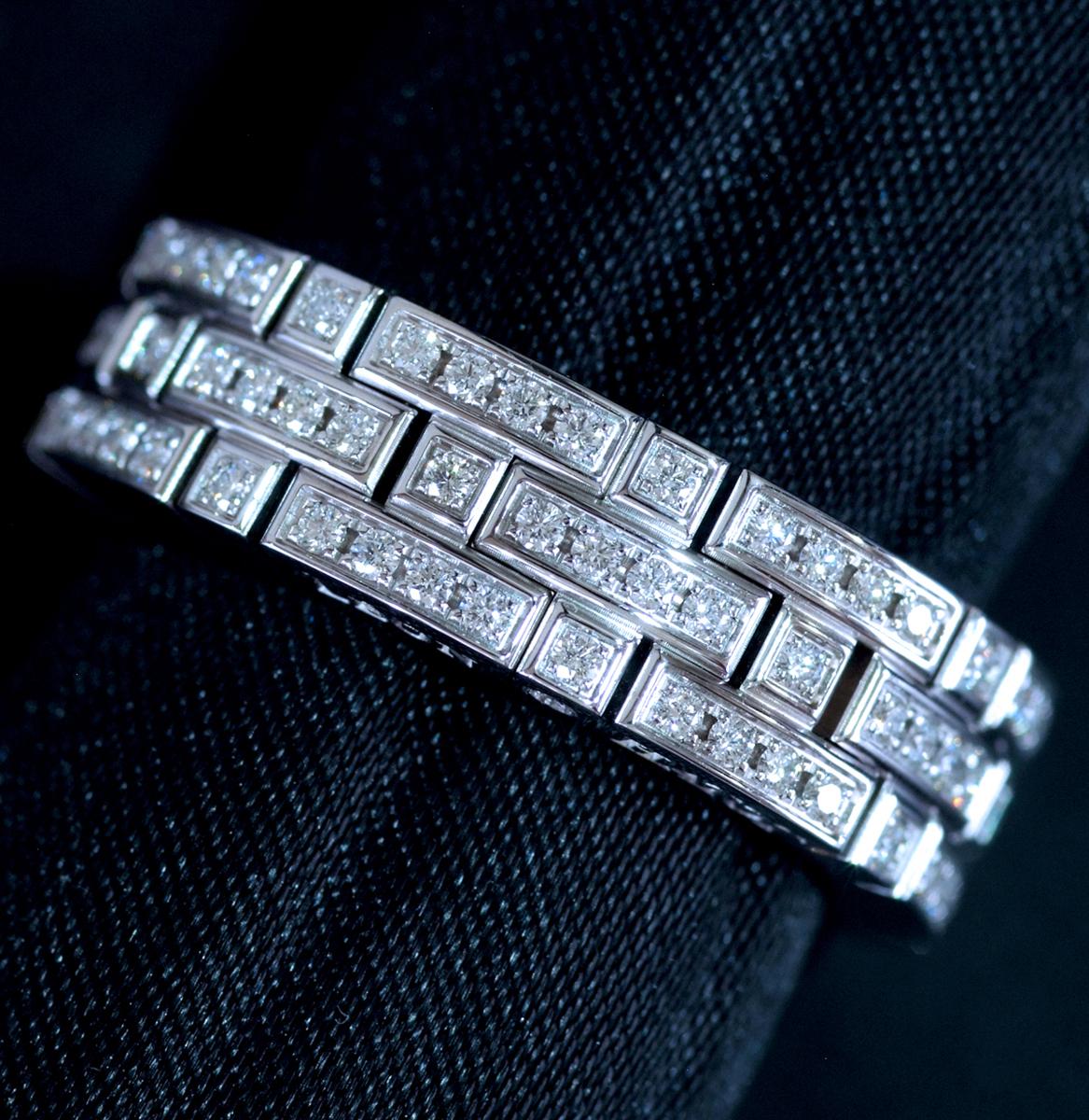 E8222【LEON HATOT】レオンアト 天然絶品ダイヤモンド116pcs 最高級18金WG無垢リング サイズ16号 重量15.8g 縦幅6.7mm