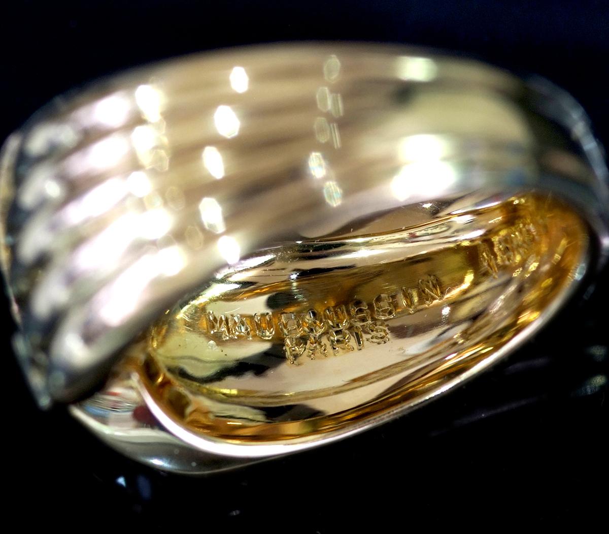 E8196【MAUBOUSSIN】モーブッサン 天然絶品ダイヤモンド7pcs サファイア4pcs 最高級18金無垢リング サイズ12.5号 重量10.9g 縦幅9.8mm_画像3