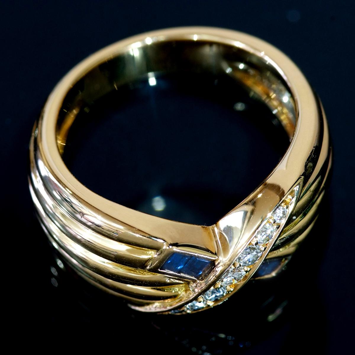 E8196【MAUBOUSSIN】モーブッサン 天然絶品ダイヤモンド7pcs サファイア4pcs 最高級18金無垢リング サイズ12.5号 重量10.9g 縦幅9.8mm_画像2