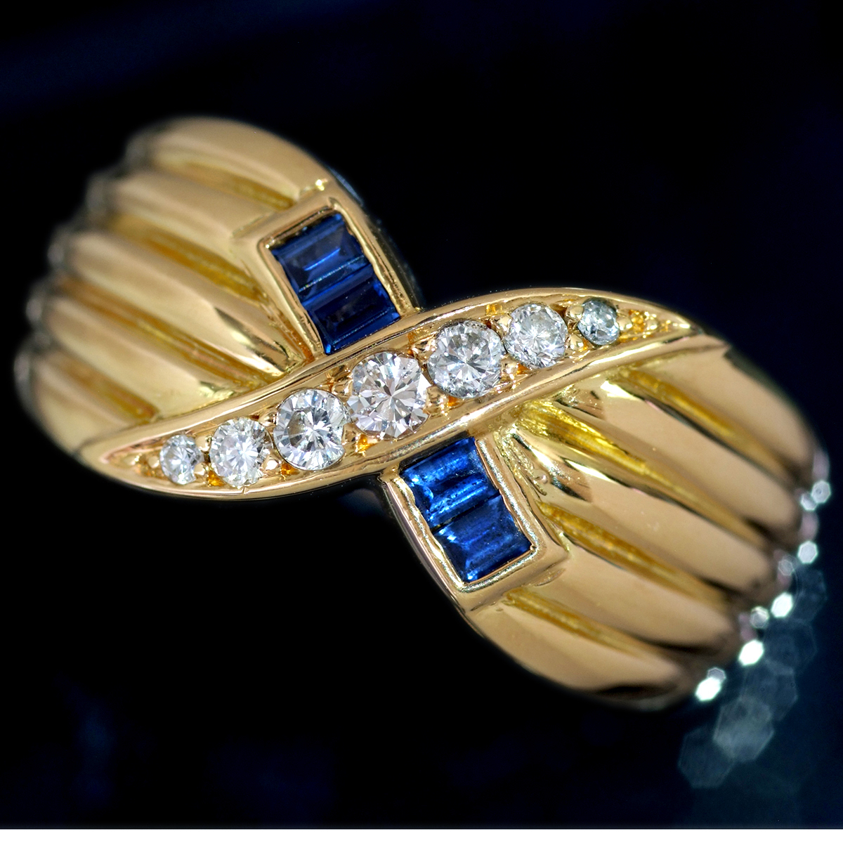 E8196【MAUBOUSSIN】モーブッサン 天然絶品ダイヤモンド7pcs サファイア4pcs 最高級18金無垢リング サイズ12.5号 重量10.9g 縦幅9.8mm_画像1