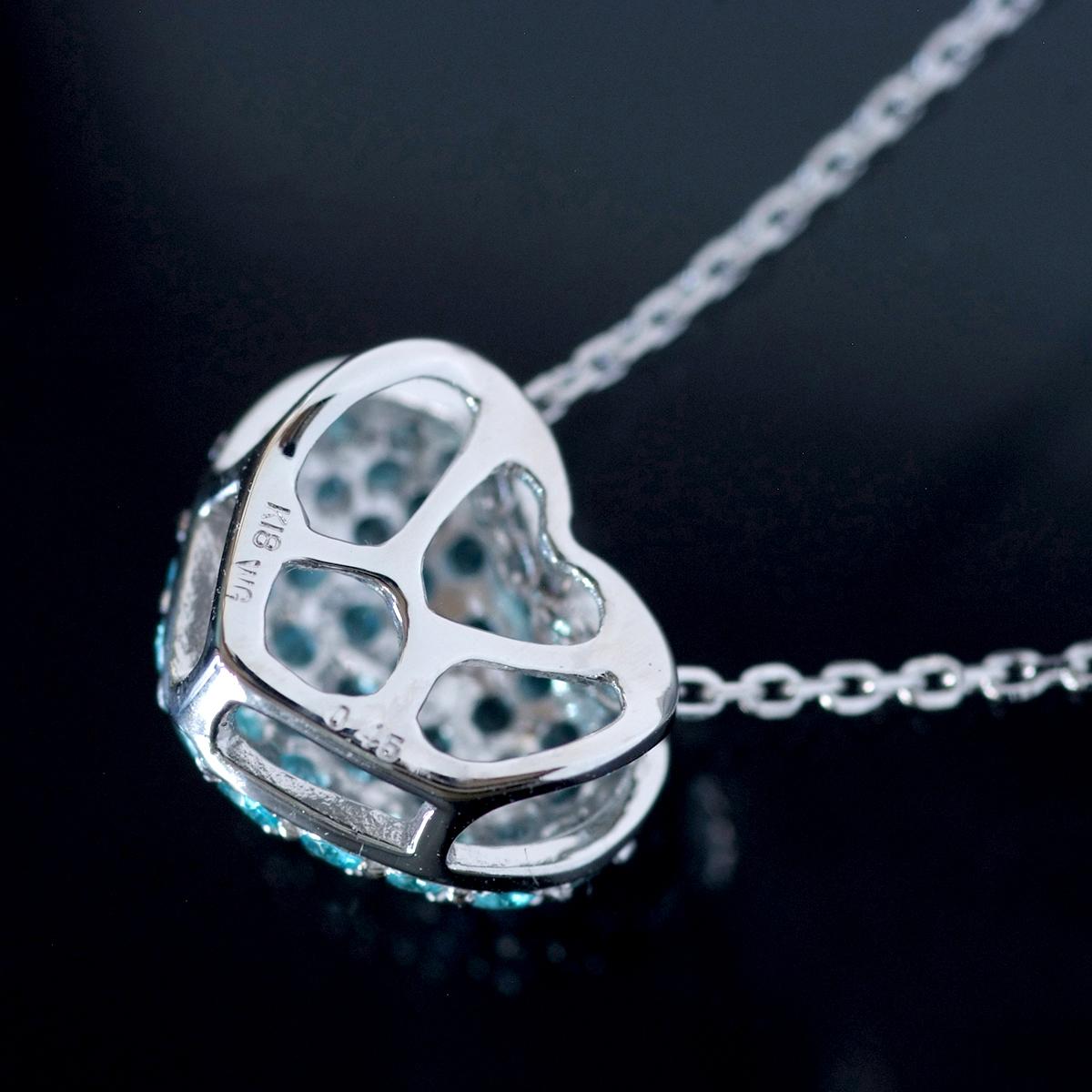 E8352【HEART】パライバトルマリン0.45ct 最高級18金WG無垢ネックレス 長さ42cm 重量2.65g 幅9.0mm_画像2