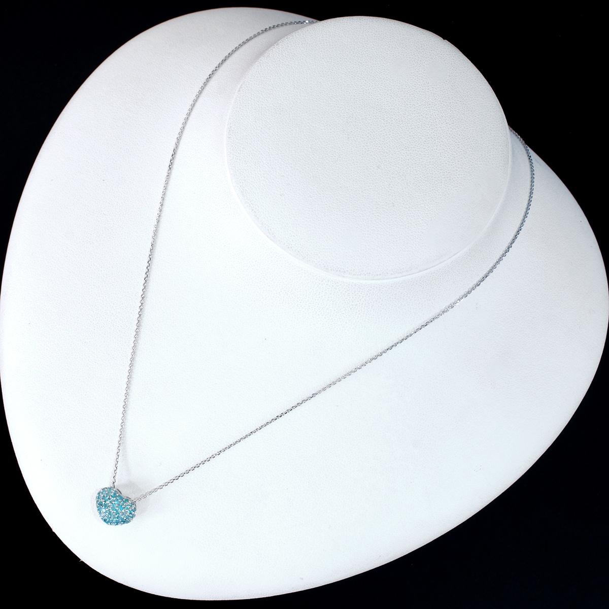 E8352【HEART】パライバトルマリン0.45ct 最高級18金WG無垢ネックレス 長さ42cm 重量2.65g 幅9.0mm_画像3
