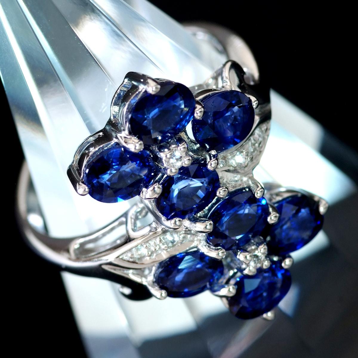 E8343 逸品ロイヤルブルー系サファイア8pcs 天然上質ダイヤモンド6pcs 最高級14金WG無垢リング サイズ12号 重量4.13g 縦幅19.4mm_画像2
