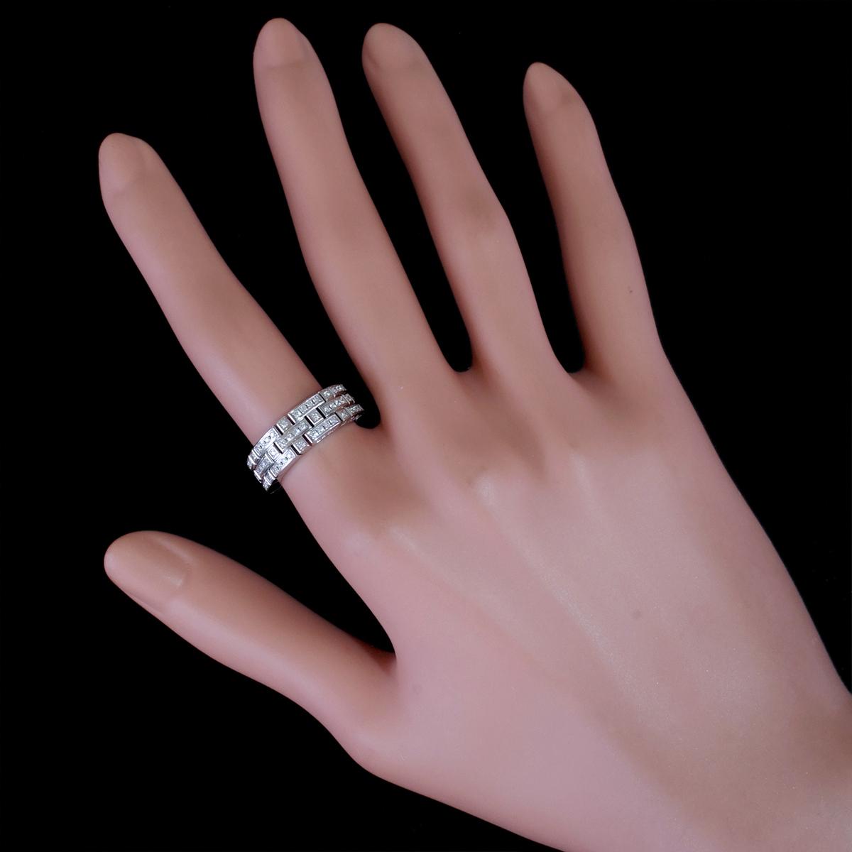 E8222【LEON HATOT】レオンアト 天然絶品ダイヤモンド116pcs 最高級18金WG無垢リング サイズ16号 重量15.8g 縦幅6.7mm_画像4
