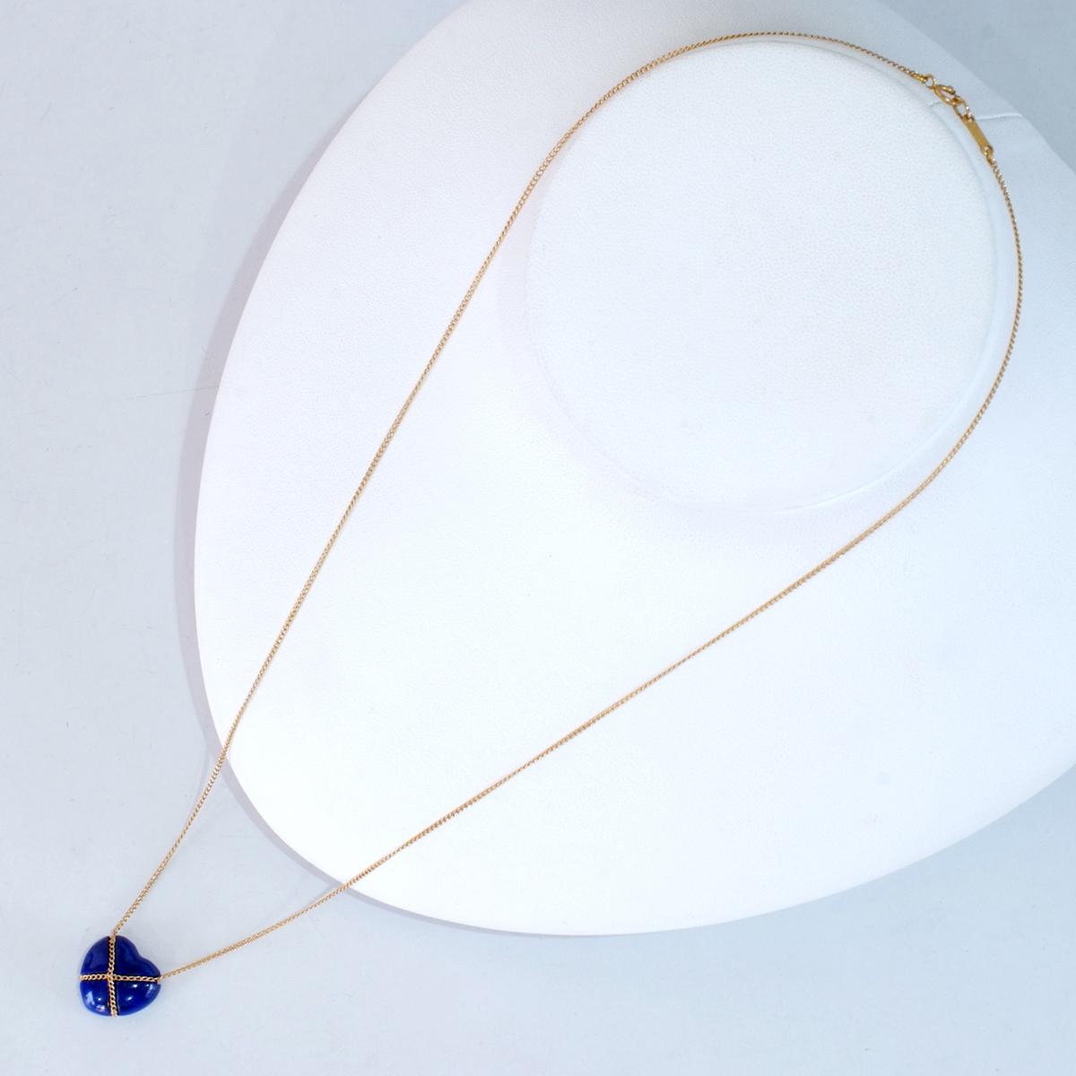 E8479【Tiffany&Co. 1837】ティファニー ハート ラピスラズリ 最高級18金無垢ネックレス 長さ46.5cm 重量3.42g 幅13.4mm_画像3