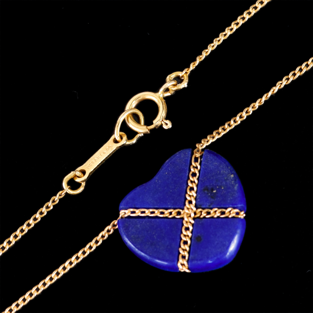 E8479【Tiffany&Co. 1837】ティファニー ハート ラピスラズリ 最高級18金無垢ネックレス 長さ46.5cm 重量3.42g 幅13.4mm_画像2