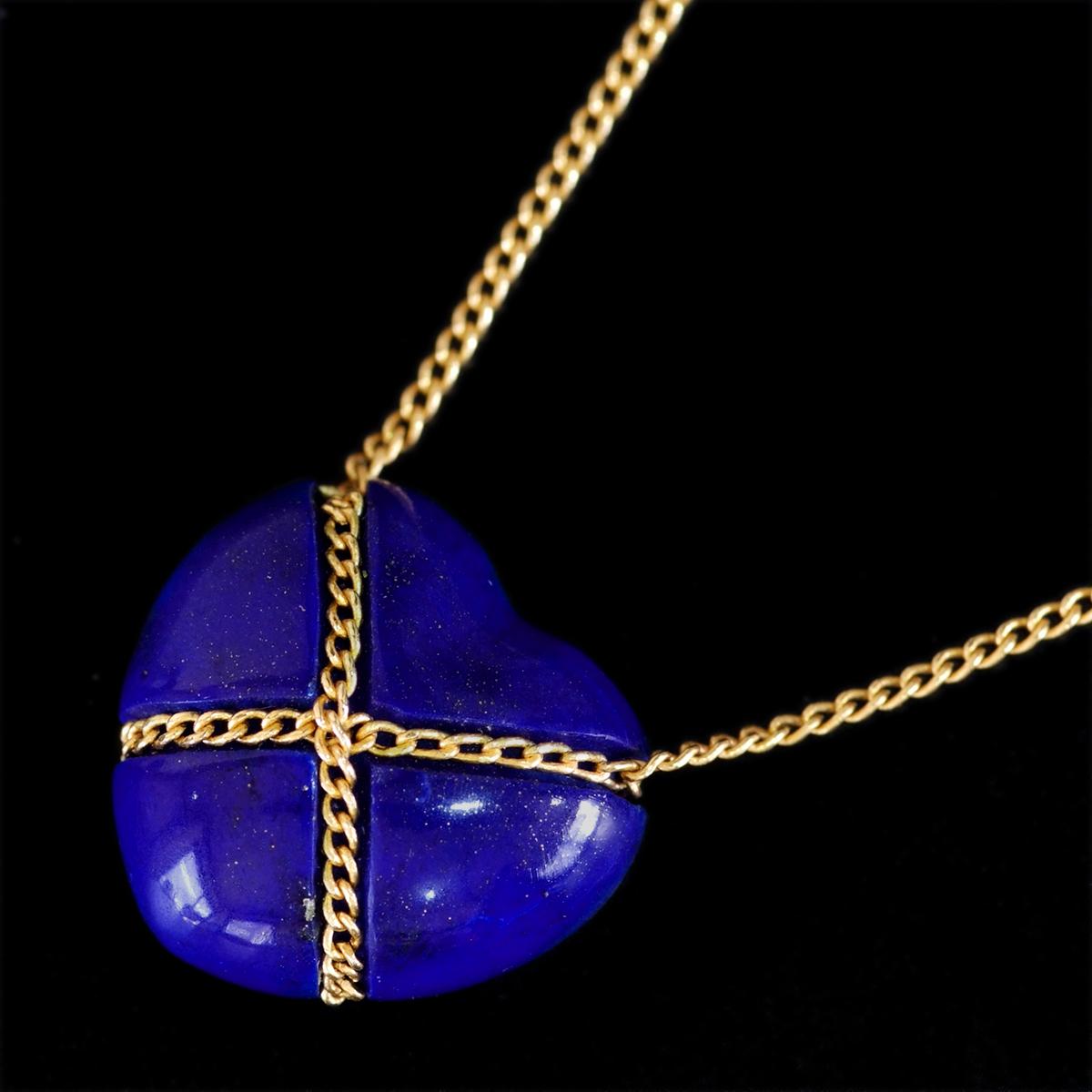 E8479【Tiffany&Co. 1837】ティファニー ハート ラピスラズリ 最高級18金無垢ネックレス 長さ46.5cm 重量3.42g 幅13.4mm_画像1