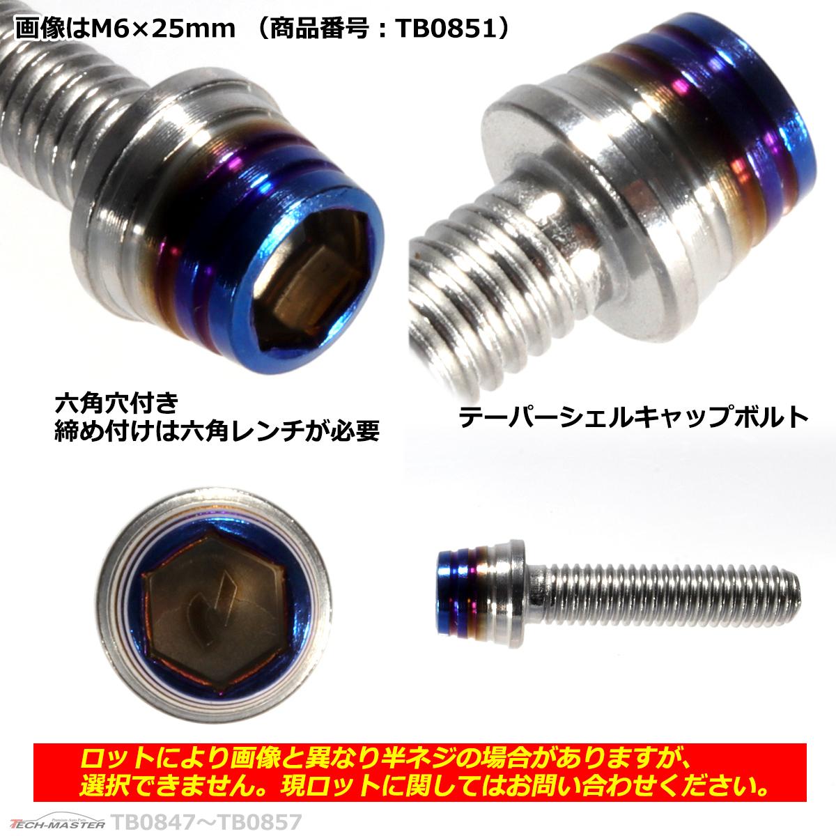 M6×20mm P1.0 テーパーシェル キャップボルト ステンレス 車/バイク/自転車 ドレスアップ パーツ シルバー&焼きチタンカラー 1個 TB0850_画像2
