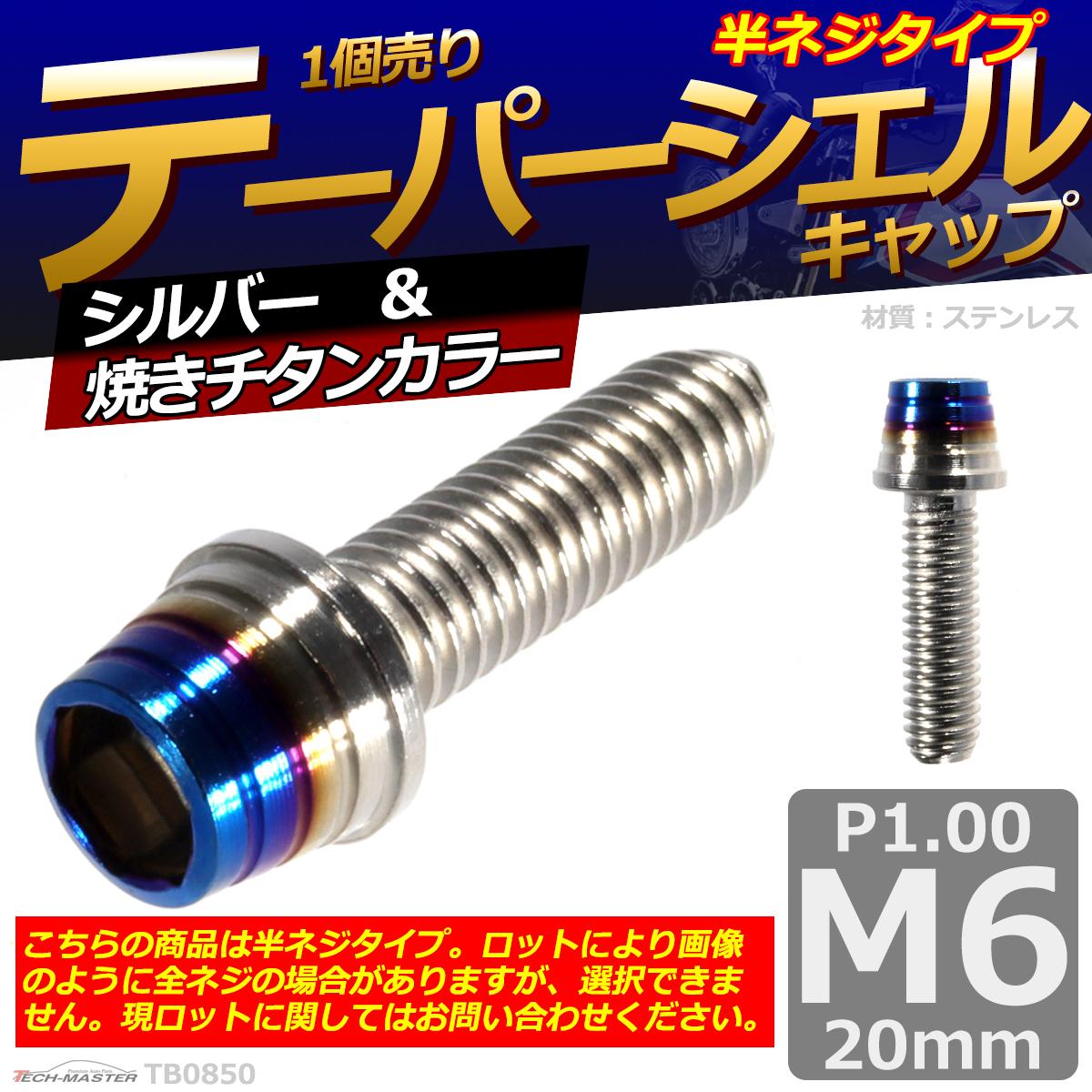 M6×20mm P1.0 テーパーシェル キャップボルト ステンレス 車/バイク/自転車 ドレスアップ パーツ シルバー&焼きチタンカラー 1個 TB0850_画像1