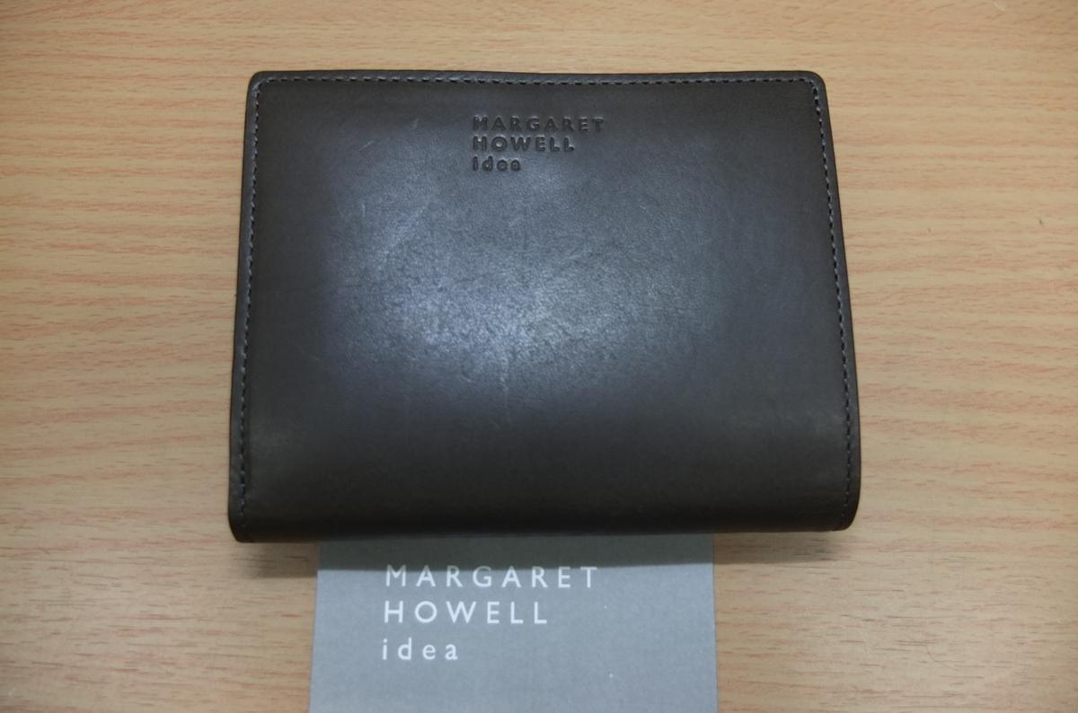 英国MARGARET HOWELL idea 2つ折財布 ウォレット 牛革 濃グリーン系カーキ★新品格安!_画像2