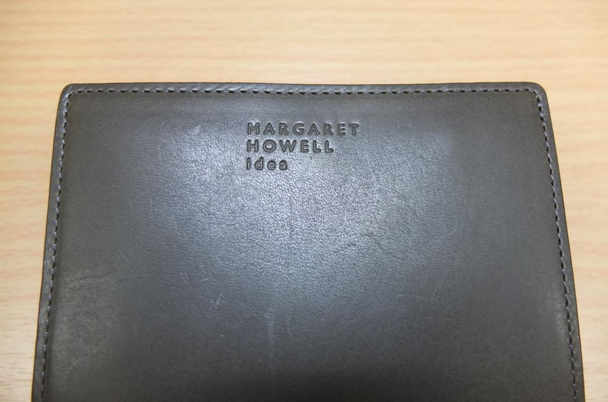 英国MARGARET HOWELL idea 2つ折財布 ウォレット 牛革 濃グリーン系カーキ★新品格安!_画像3