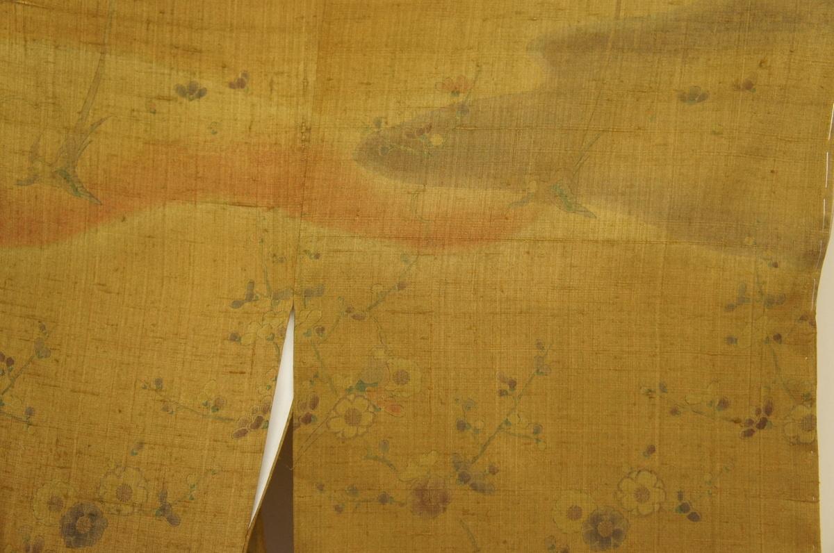 特選しょうざん?生紬桑染色地鳥花枝模様新品訪問着H11362_特選しょうざん生紬桑染色地鳥に花枝模様