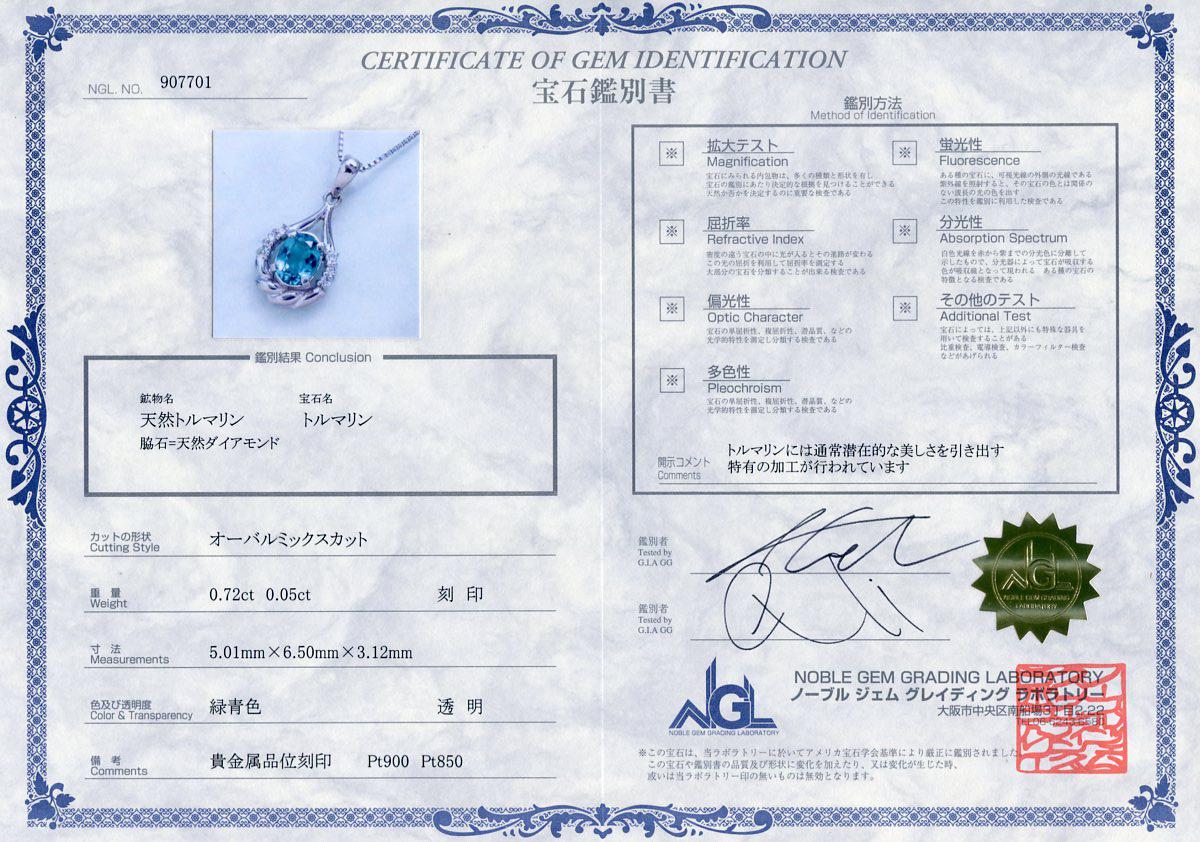 E8354 逸品ブルートルマリン0.72ct 天然絶品ダイヤ0.05ct 最高級プラチナ無垢ネックレス 長さ40~36cm 重量4.0g 幅20.6×10.2mm_画像3