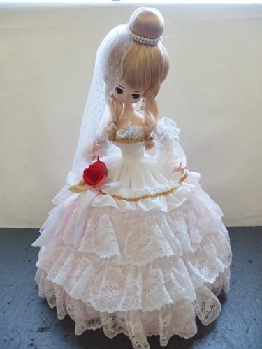 691261s【サイズB】昭和レトロ ドレスを着た女の子 ポーズ人形/H52cm/中古品_画像1