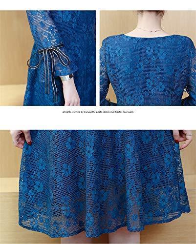 3L 新品 レディース 七分袖 レースワンピース Aライン シースルー ひざ丈 きれいめ ブルー 3L 15 大きいサイズ 青 結婚式 フォーマル_画像8