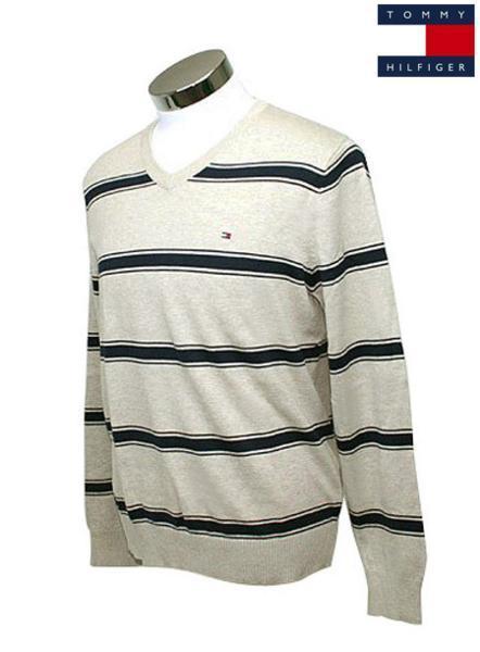 新品! Tommy Hilfiger トミーヒルフィガー c887819369-248 ベージュ ボーダー柄 メンズ Vネックセーター Sサイズ_画像1