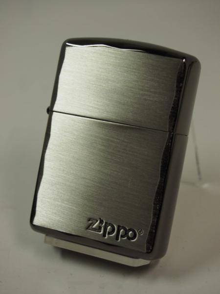 Zippo ARMOR シンプルロゴ・シャインレイ 彫刻アーマー黒銀SBN ブラック_画像2