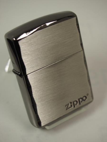 Zippo ARMOR シンプルロゴ・シャインレイ 彫刻アーマー黒銀SBN ブラック_画像1