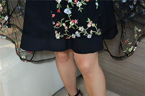 4L 新品 レディース 半袖 シースルーチュールワンピース ひざ下丈 ひざ丈 重ね着風 花柄刺繍 きれいめ 黒 4L 17 大きいサイズ ブラック_画像5