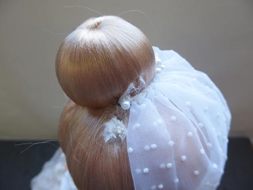 691261s【サイズB】昭和レトロ ドレスを着た女の子 ポーズ人形/H52cm/中古品_画像6
