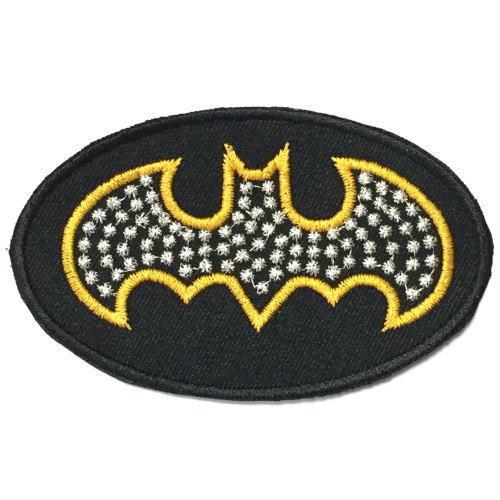 076 BATMAN バットマン ロゴ 星柄風ドット アイロン ワッペン アメコミ  ジョーカー 映画  刺繍 パッチ リペア_画像1