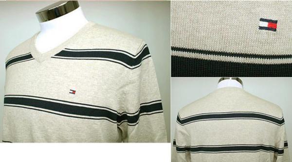 新品! Tommy Hilfiger トミーヒルフィガー c887819369-248 ベージュ ボーダー柄 メンズ Vネックセーター Sサイズ_画像2