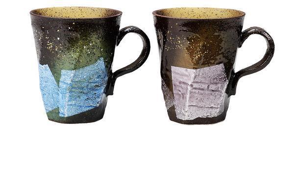九谷焼! ☆銀彩金銀ちらし・ペアマグカップ☆ K6-941 新品 コーヒー 紅茶 ギフト ※_画像1