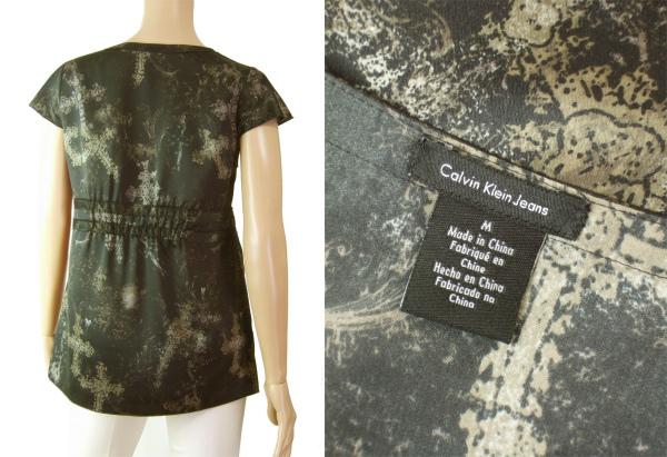 A美品/カルバンクライン CK Calvin Klein 大人な美形カットソー 表記M号(9号相当) 黒 艶感 十字架デザイン 春夏 トップス レディース_画像3