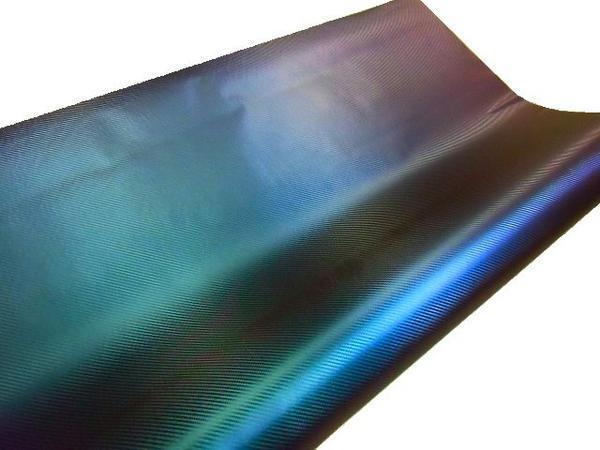 同梱無料 裏溝付!3D リアル カーボンシート/カッティングシート 伸縮有 152cm×100cm マジョーラ 青 紫 緑 1M 切売 シール ステッカー E_画像2