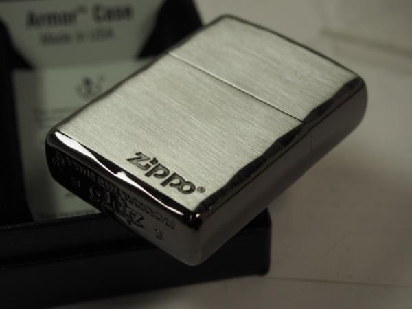 Zippo ARMOR シンプルロゴ・シャインレイ 彫刻アーマー黒銀SBN ブラック_画像6