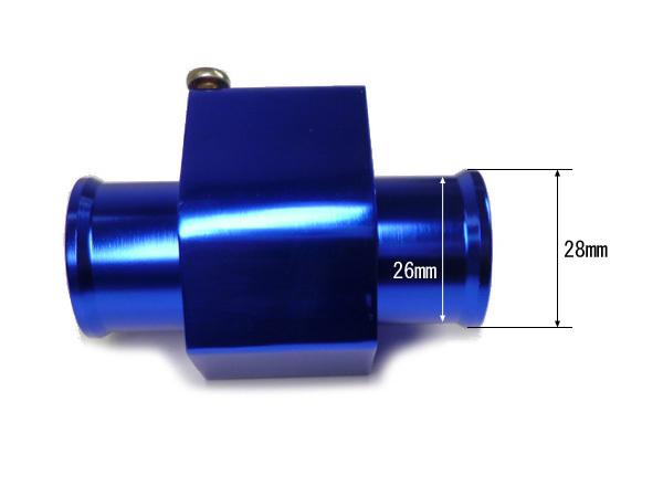 NPT1/8 水温センサー アタッチメント ブルー 青 差込口径28mm/ 内側口径26mm バンド付 アルマイト仕上げ アダプター/e19и_画像2