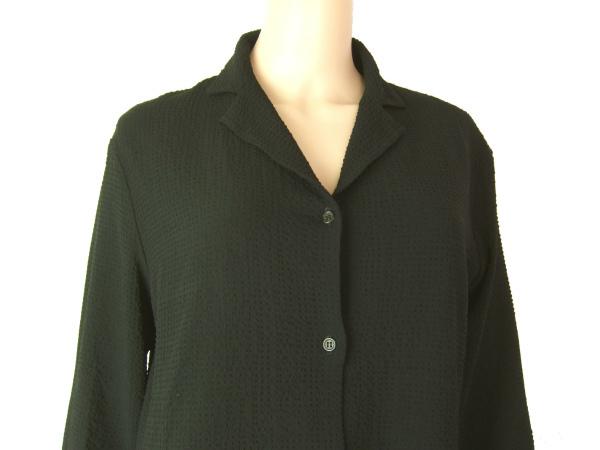 A美品/ナルシソロドリゲス narciso rodriguez 大人な美形ジャケット イタリア製 表記I44号(11号相当) 黒 ワッフル地 春夏向け アウター_画像2