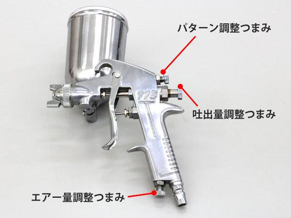 塗装ガン ノズル口径 1.3mm 上カップ 400ml 重力式 プロ仕様 エアスプレーガン パターン調整 エアー量調整 吐出量 カップ角度調整可能 工具_画像2