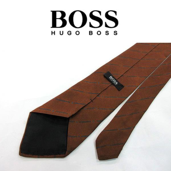 ●HUGO BOSS/ヒューゴボス●ストライプ柄 レーヨン混 ネクタイ/茶系[HX1287_[HX1287] の画像2