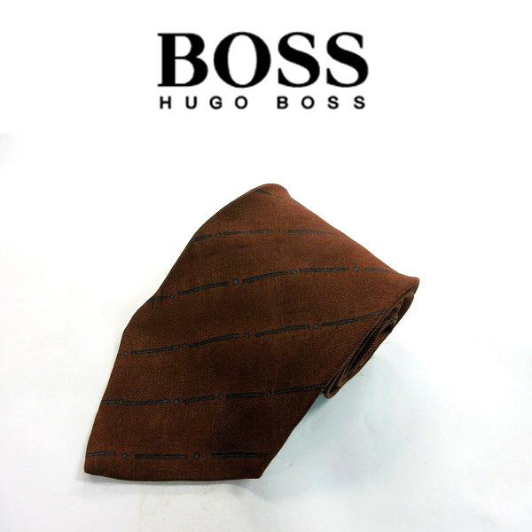 ●HUGO BOSS/ヒューゴボス●ストライプ柄 レーヨン混 ネクタイ/茶系[HX1287_[HX1287] の画像1