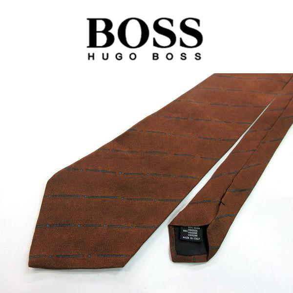 ●HUGO BOSS/ヒューゴボス●ストライプ柄 レーヨン混 ネクタイ/茶系[HX1287_[HX1287] の画像3