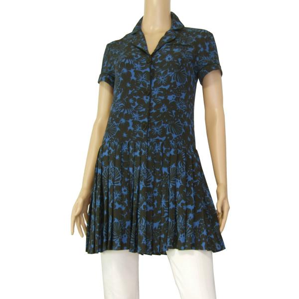 A美品/フレンズ&アソシエイツ FRIENDS&ASSOCIATES 涼しげシャツチュニック 表記USA S(9号相当) 青 黒 シルク ボタニカル柄 春夏 トップス_画像1