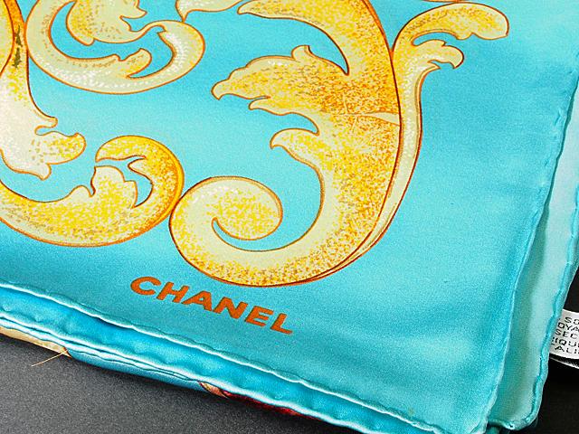 富士屋◆送料無料◆シャネル CHANEL フラワースカーフ グリーン シルク_画像2