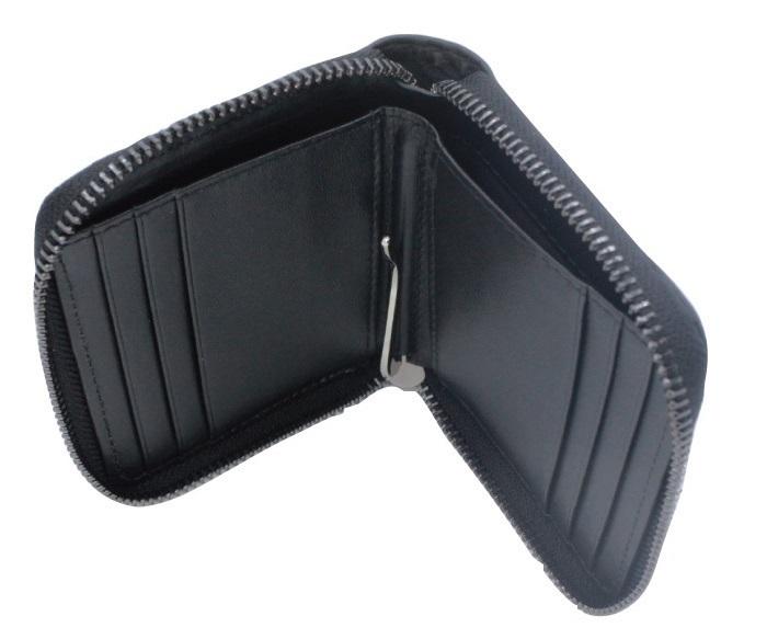 MADMAX カーボン柄 メンズウォレット 本革 コンパクト財布 二つ折り ファスナータイプ ブラック/ファッション サイフ【メール便送料200円】_画像3