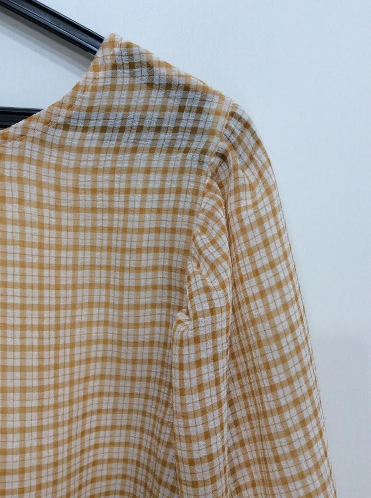イーハイフンワールドギャラリー 七分袖ブラウス 袖口&裾ゴム入り オレンジ系×オフ白チェック サイズF_画像3