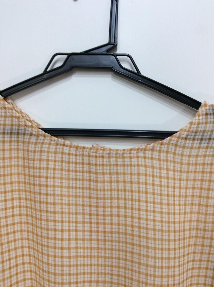 イーハイフンワールドギャラリー 七分袖ブラウス 袖口&裾ゴム入り オレンジ系×オフ白チェック サイズF_画像2