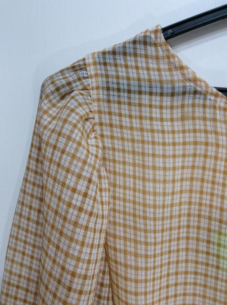 イーハイフンワールドギャラリー 七分袖ブラウス 袖口&裾ゴム入り オレンジ系×オフ白チェック サイズF_画像6
